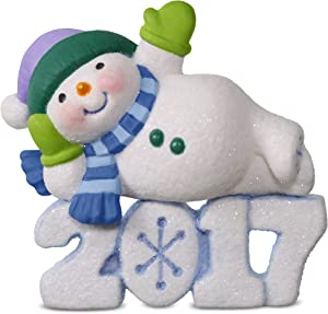 Hallmark Keepsake 2017 Frosty Fun Decade Lounging Snowman Dated Christmas Ornament