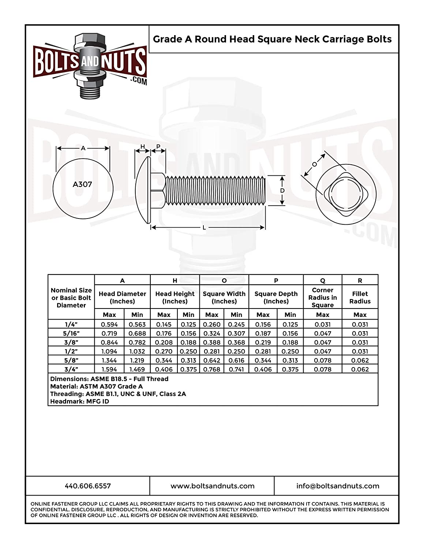 1//4-20x3-1//2 A307 Grade A Full Thread Carriage Bolts Zinc Clear 100 PCS