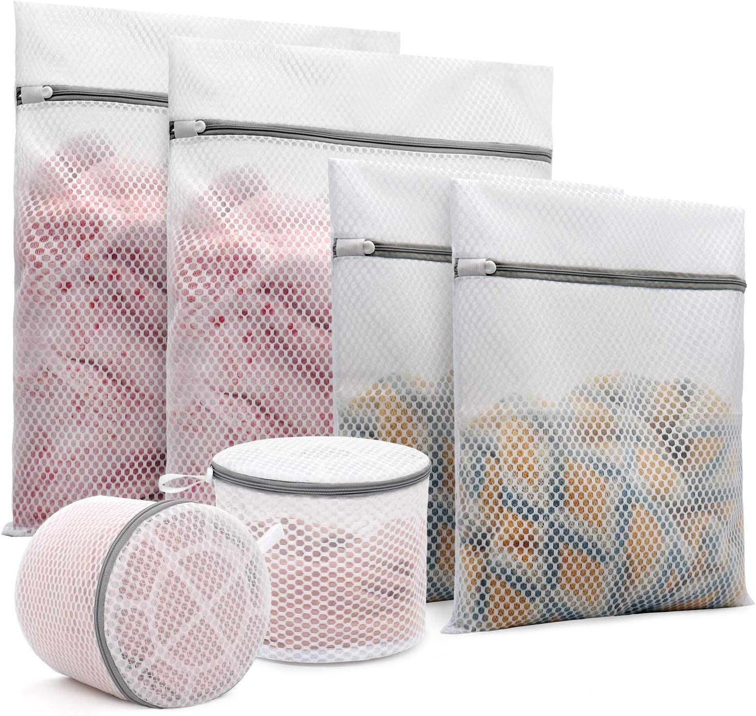6Pcs Durable Honeycomb Mesh Laundry Bags for Delicates (2Pcs 16 x 20 Inches, 2Pcs 12 x 16 Inches, 2Pcs 6 x 7 Inches)