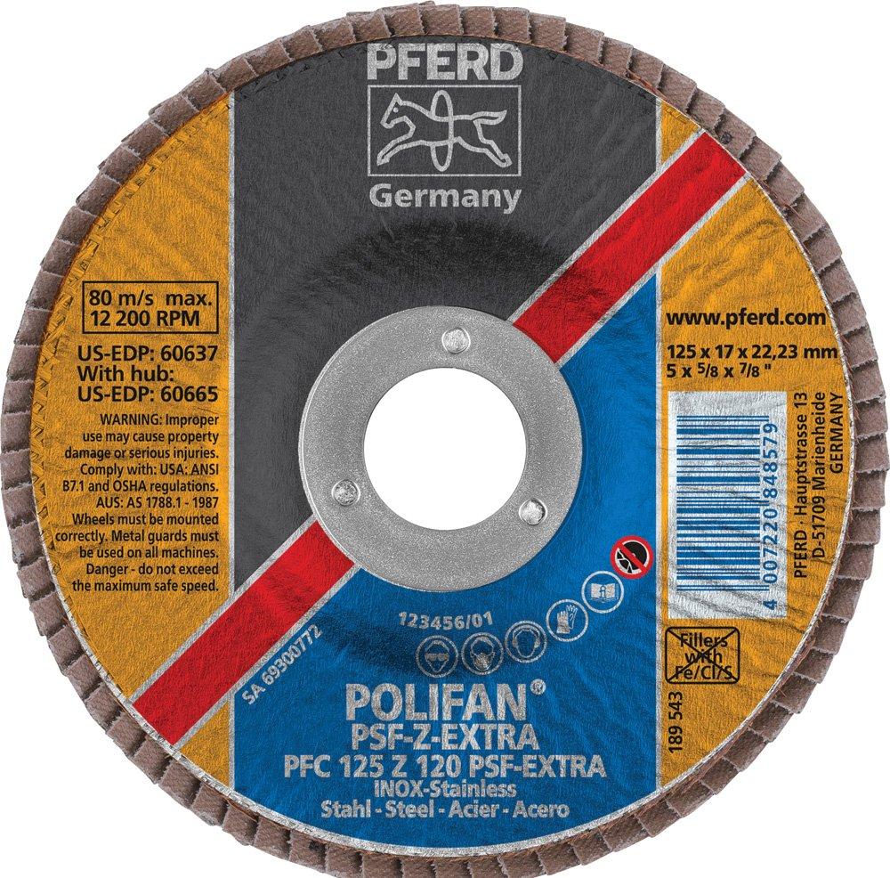 120 Grit 5 Diameter 7//8 Arbor Hole PFERD Inc. PFERD 60637 Polifan PSF Z-EXTRA Type 29 Conical Flap Disc 7//8 Arbor Hole Zirconia Alumina 5 Diameter 12200 rpm