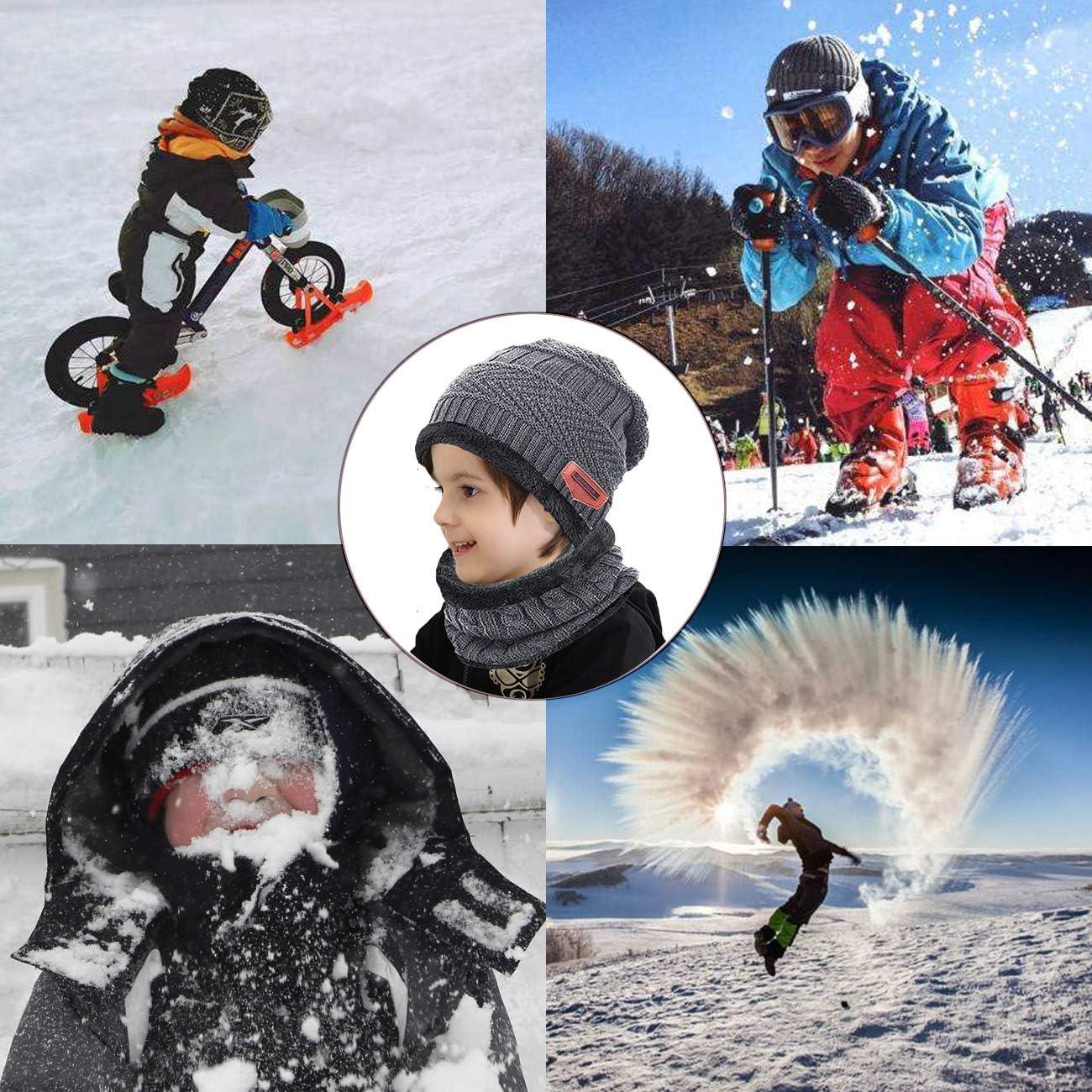 ANJUREN Hat Beanie Scarf Set 2pcs Child Kids Boys Girls Winter Snow Knit Skull Cap Circle Scarves
