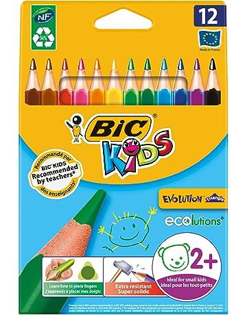 BIC Kids Evolution Ecolutions - Blíster de 12 lápices triangulares de colores para aprendizaje