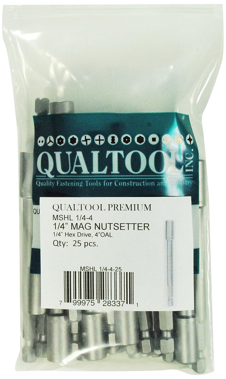 Qualtool Premium MSHL1//4-4-25 Magnetic 1//4-Inch Hex Extra Long Nutsetter 25-Pack