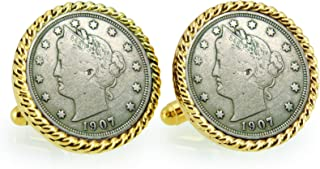 product image for American Coin Treasures Liberty Nickel Goldtone Rope Bezel Coin Cuff Links
