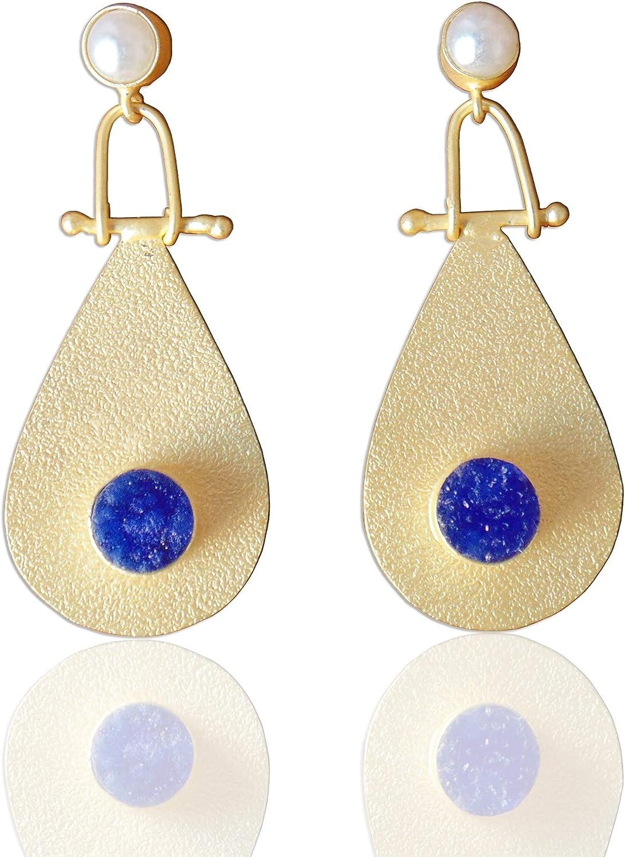 Fabulous pendientes colgantes de oro mate vermeil azul drusa y perla