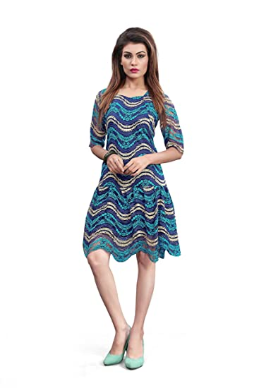 Shopaholics World Womens Sea Blue Lace Fabric Skater Dress