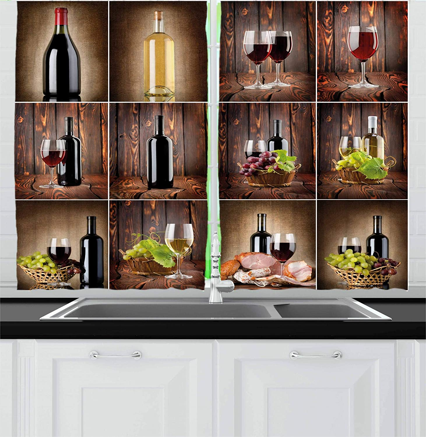 Ambesonne Wine Kitchen Curtains, Wine Themed Collage on Wooden Backdrop  with Grapes and Meat Rustic Country Drink, Window Drapes 2 Panel Set for ...