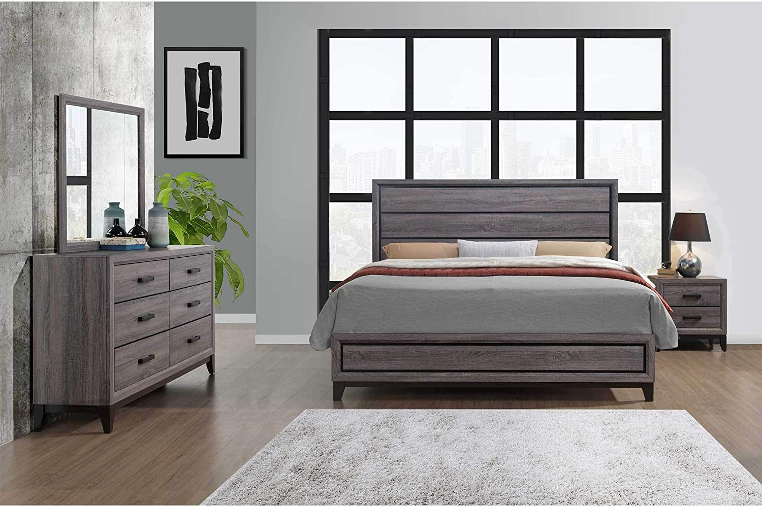 Global Furniture USA Kate Bedroom Set, Includes Inside delivery with Assembly to Room of Choice (Grey, Queen)