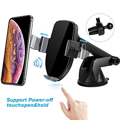 Mobile Phone Holder TURN RAISE Fast Gravity Car Mount QI Mobile Phone Holder, Phone Mount with Auto Induction Touch and Wireless Fast Charger for Android Samsung iPhone