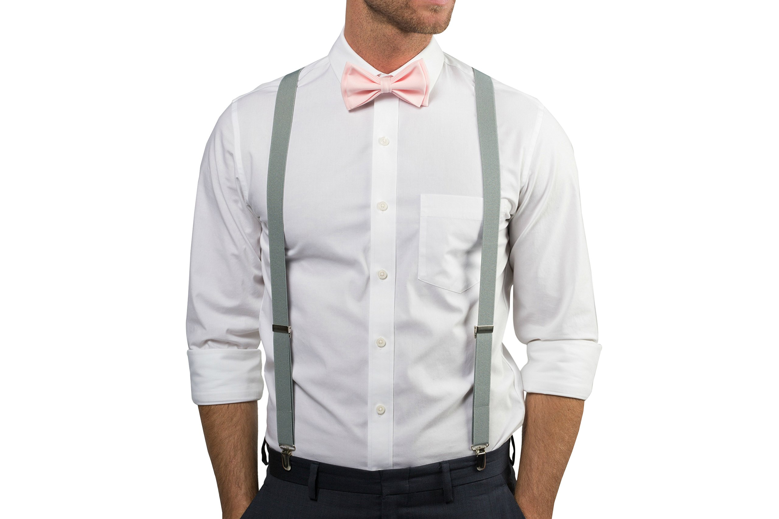 bbf762746434 Light Grey Suspenders Bow Tie Set for Baby Toddler Boy Teen Men (2. Toddler  (18 mo - 6 yrs), Light Grey Suspenders, Blush Bow Tie) - 7894592432 < Tie  Sets ...