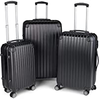 Milano Slim Line Light Weight 3 Piece Set Luggage Set Small Medium Large - Black