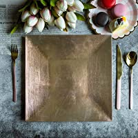 """Efavormart 6pcs 12"""" x 12"""" Gold Square Charger Plates Dinner Chargers for Tabletop Decor Holiday Wedding Catering Event Decoration"""