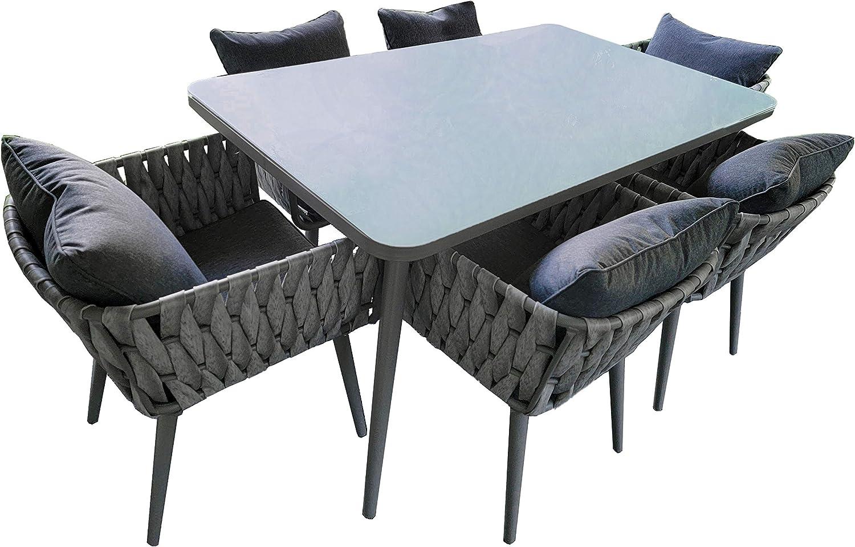 ALEKO RTDFGY Rattan Wicker Complete 7-Piece Indoor/Outdoor Dining Patio Furniture - Irvine Set