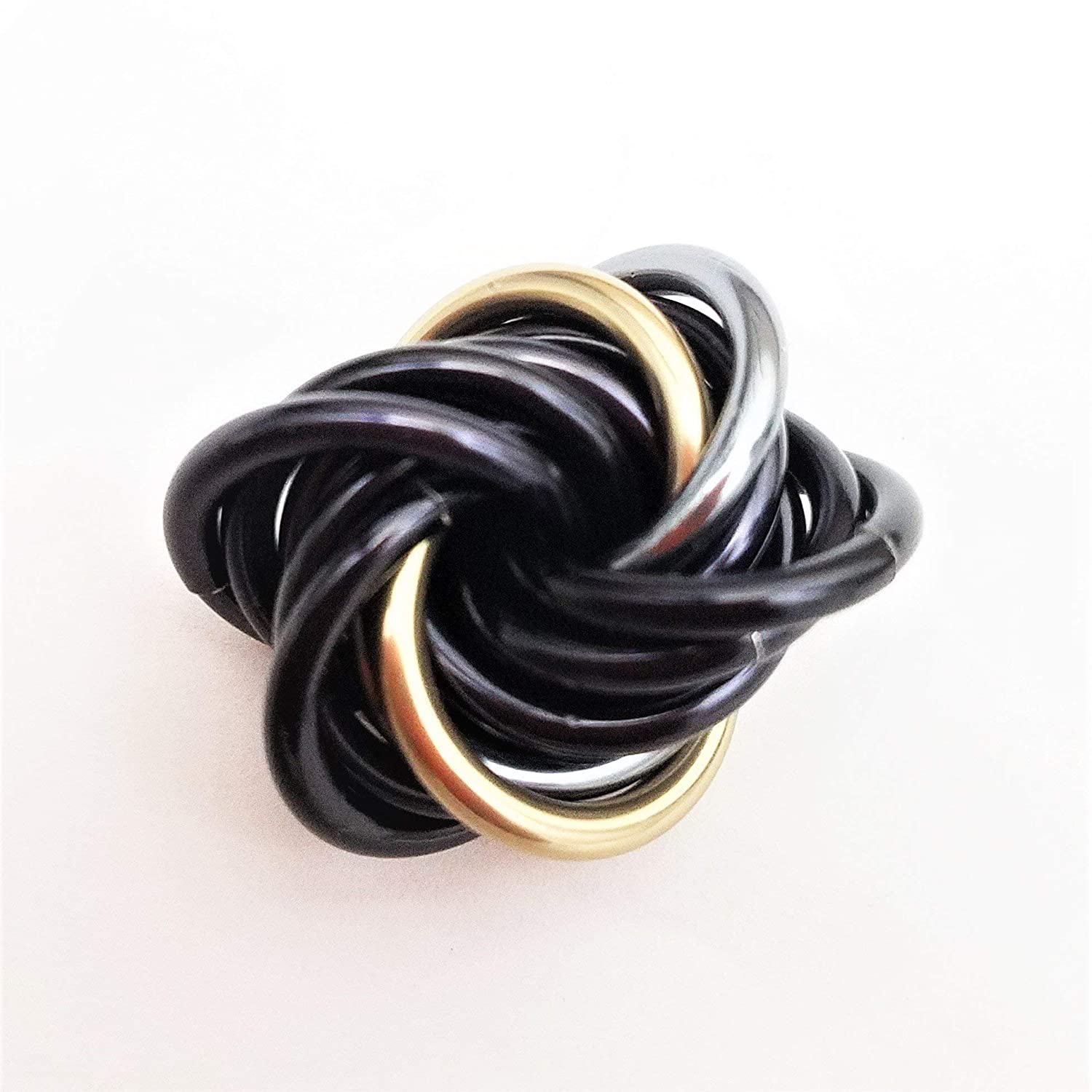 B074YZJK3T Mobii Eclipse: Small Mobius Fidget Stress Ball, Onyx with Champagne and Mercury Silver, Restless Hands, Office Toy 81elRwziT2BL