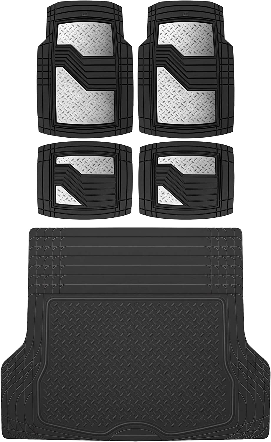 BDK Caterpillar CAMT-2314 (4-Piece) Total Protection Rubber Car Floor Mats, Universal Trim to Fit Front & Rear Combo Set with Trunk Cargo Mat Liner for Car Sedan SUV Van, Heavy Duty All Weather