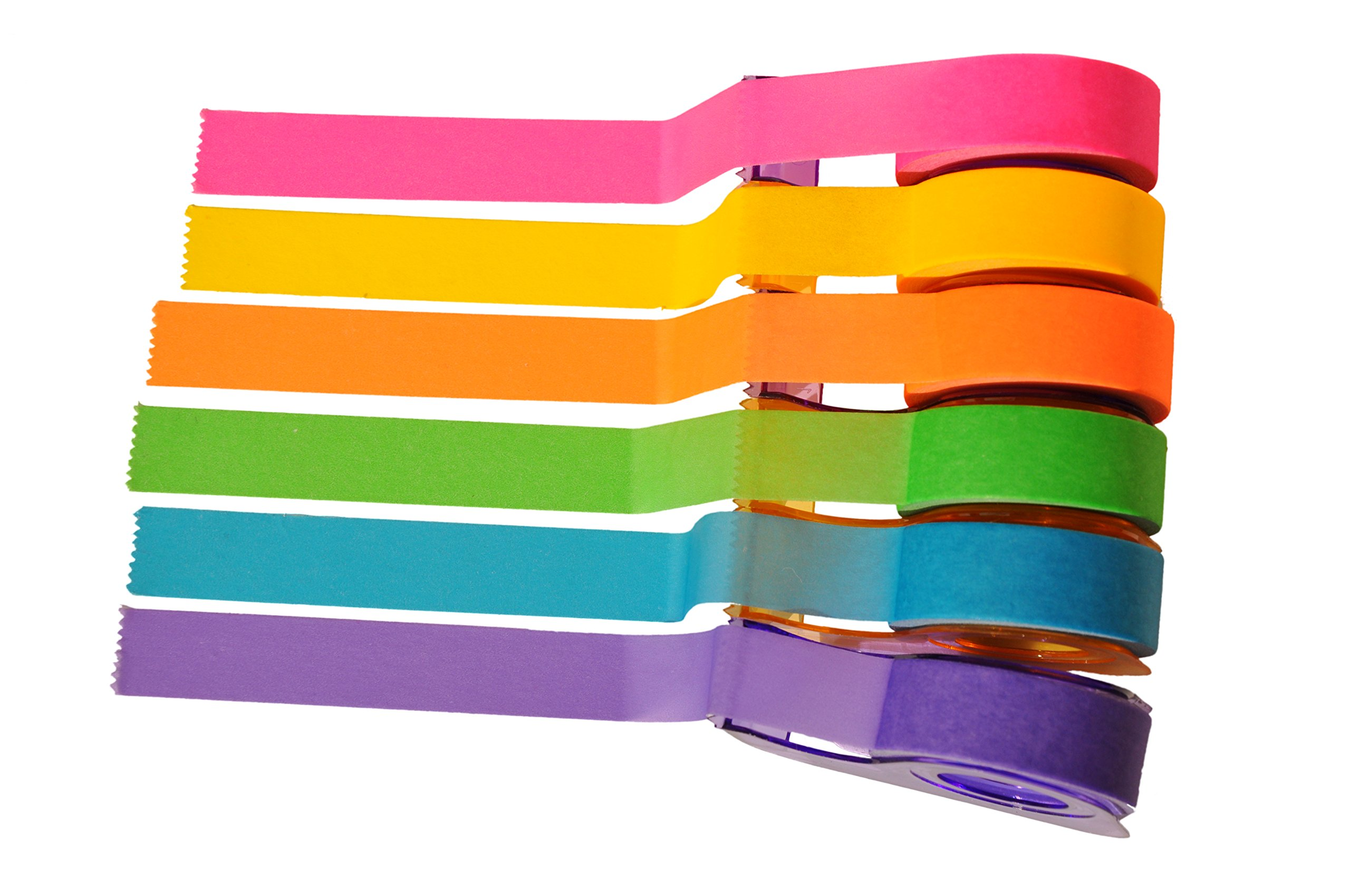 Homestic Removeable Highlighter Tape 0.6-inch x 393-inch, Fluorescent Colors (6 Colors with Dispenser) by Homestic (Image #3)