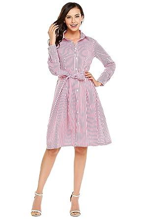 hot sales d6653 7c1ad ACEVOG Damen Blusenkleid Gestreift Kleid Lange Ärmel Knielang A Linie  Hemdkleid Strandkleid Freizeitkleid Casual Kleid mit Gürtel