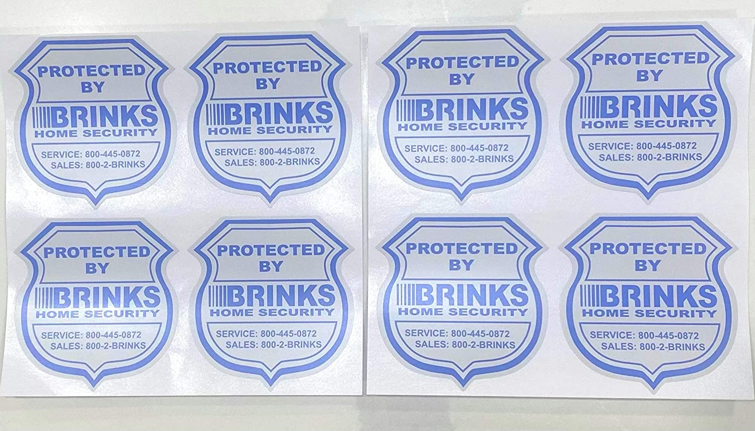8 - Double Sided Authentic Brinks Home Security Sticker Decals
