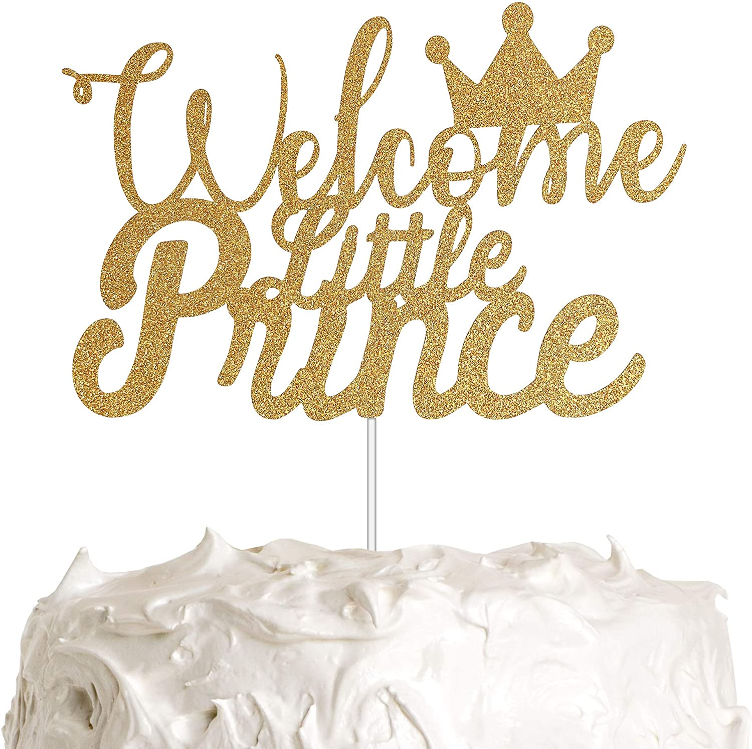 Welcome Little Prince with Crown Cake Topper for Boy Baby Shower Party Decorations with Gold Glitter