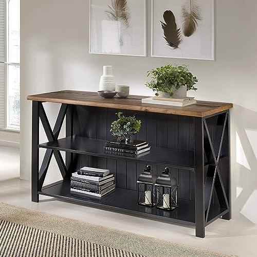 Walker Edison 2 Tier Modern Farmhouse Wood Bookcase Bookshelf Home Office Storage Cabinet