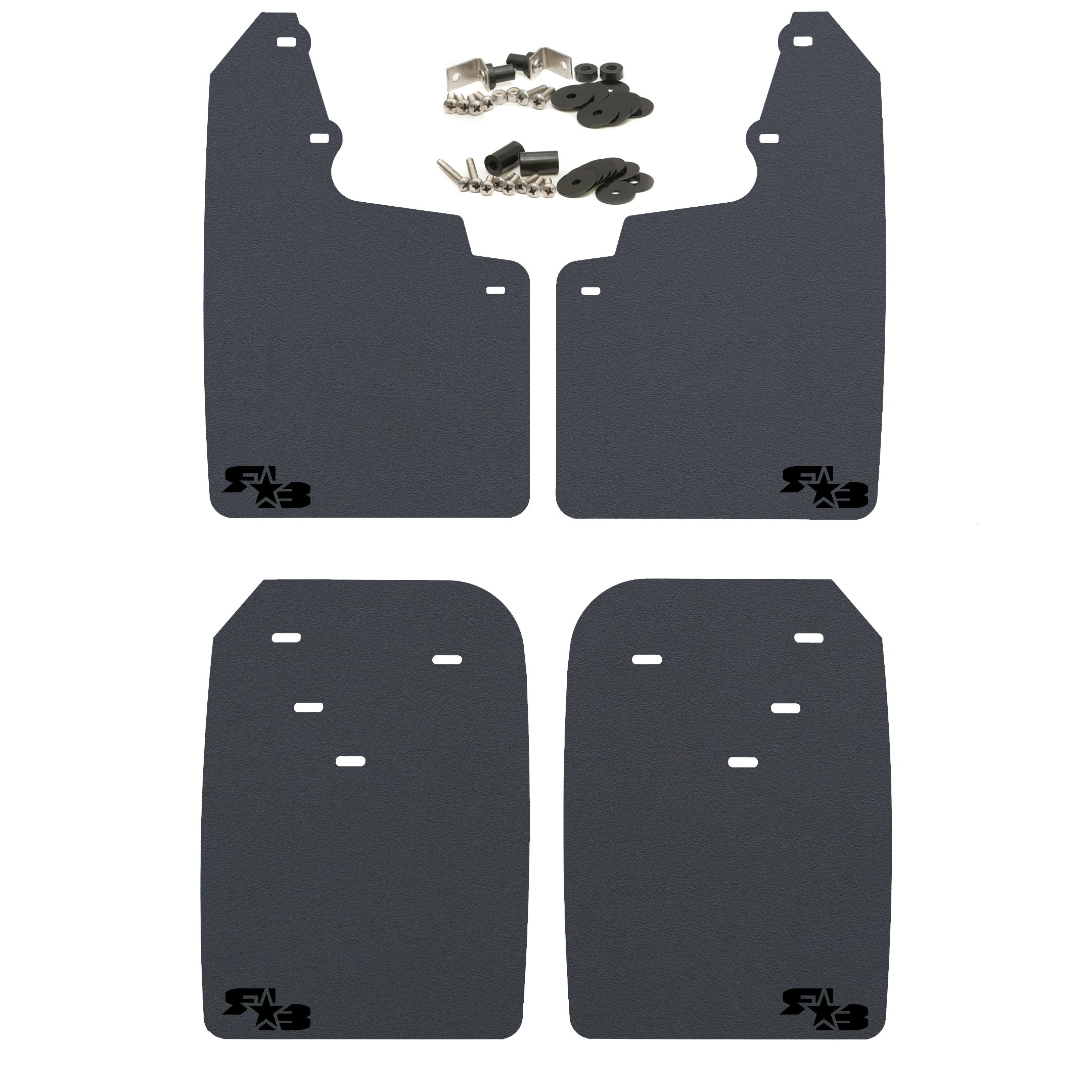 RokBlokz Mud Flaps for Toyota Tacoma - Fits 2016+ Model Years - Multiple Colors Available - Set of 4 - Includes Hardware and Detailed Instructions (Extra Large, Black with Black Logo)
