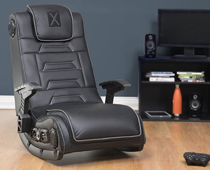 X Rocker Pro Series H3 Black Leather Vibrating Floor Video Gaming Chair with Headrest for Adult, Teen, and Kid Gamers