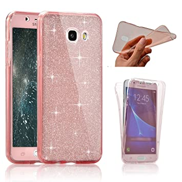 finest selection 74c4a 183a7 Samsung Galaxy A5 2017 Cover, SevenPanda Double Silicone Case for A5 2017  Cell Phone Cover Shiny Glitter Crystal Crystal Shockproof Transparent Full  ...
