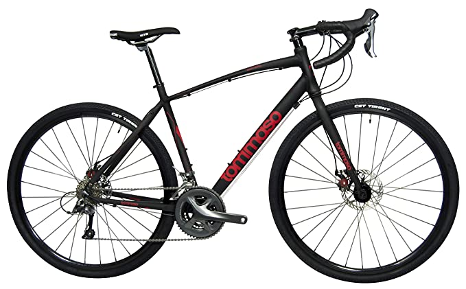 Tommaso Sentiero Shimano Claris Gravel Adventure Bike with Disc Brakes, Extra Wide Tires, Perfect for Road Or Dirt Trail Touring, Matte Black - Medium best gravel bikes