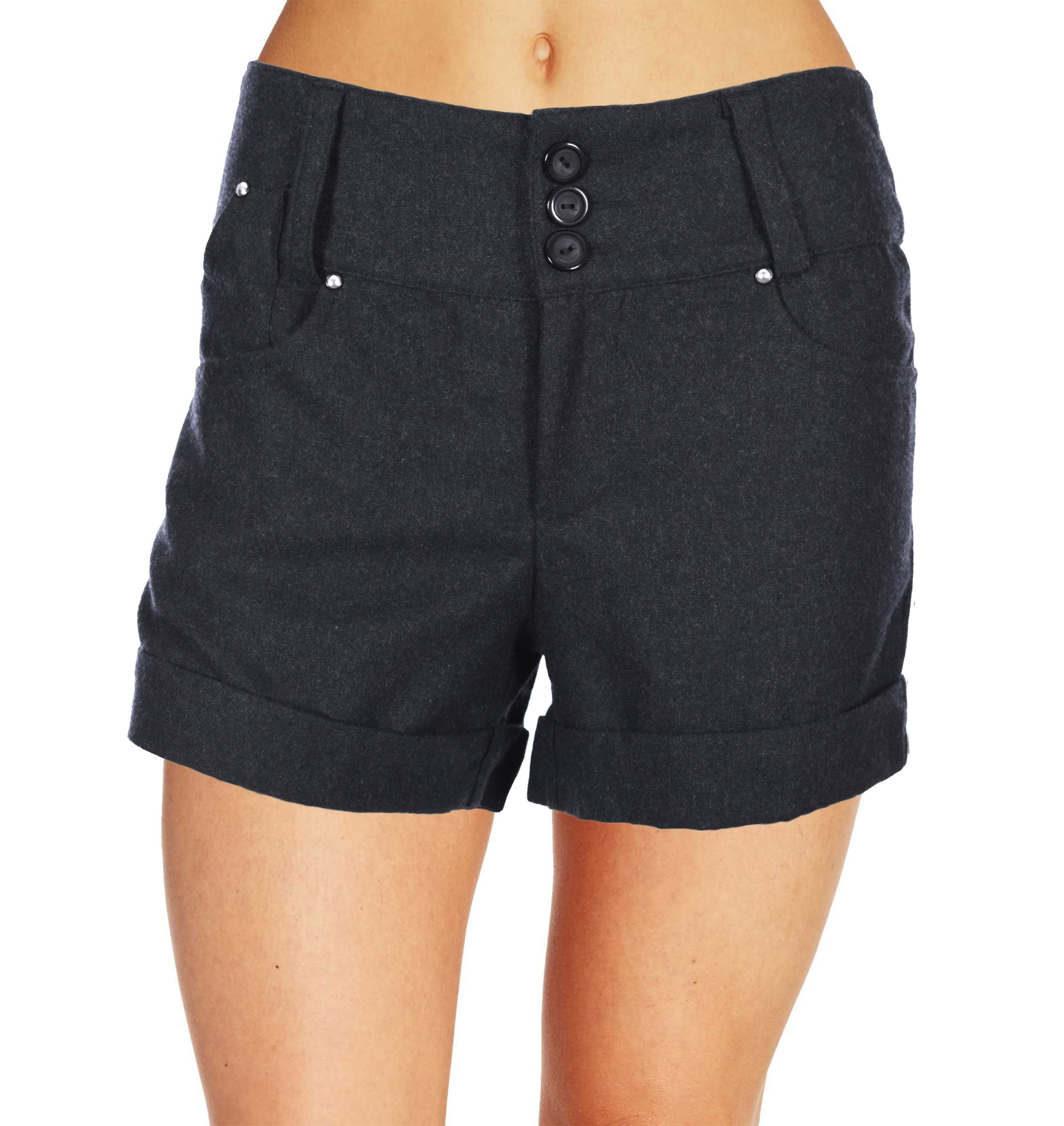 Finesse Women's Soft Blended Plus Size Shorts in Charcoal Gray (2X, Charcoal Gray)