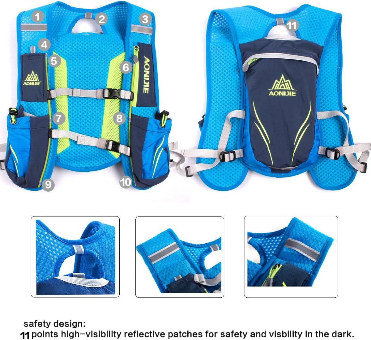 Geila En plein air Sport Piste Marathoner Fonctionnement Course Hydratation Gilet Pack Sac /à dos avec 2 Eau Bouteilles