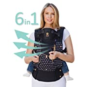 LÍLLÉbaby The COMPLETE All Seasons SIX-Position 360 Ergonomic Baby & Child Carrier, Spot on Black - Cotton Baby Carrier, Comfortable and Ergonomic, Multi-Position Carrying for Infants Babies Toddlers