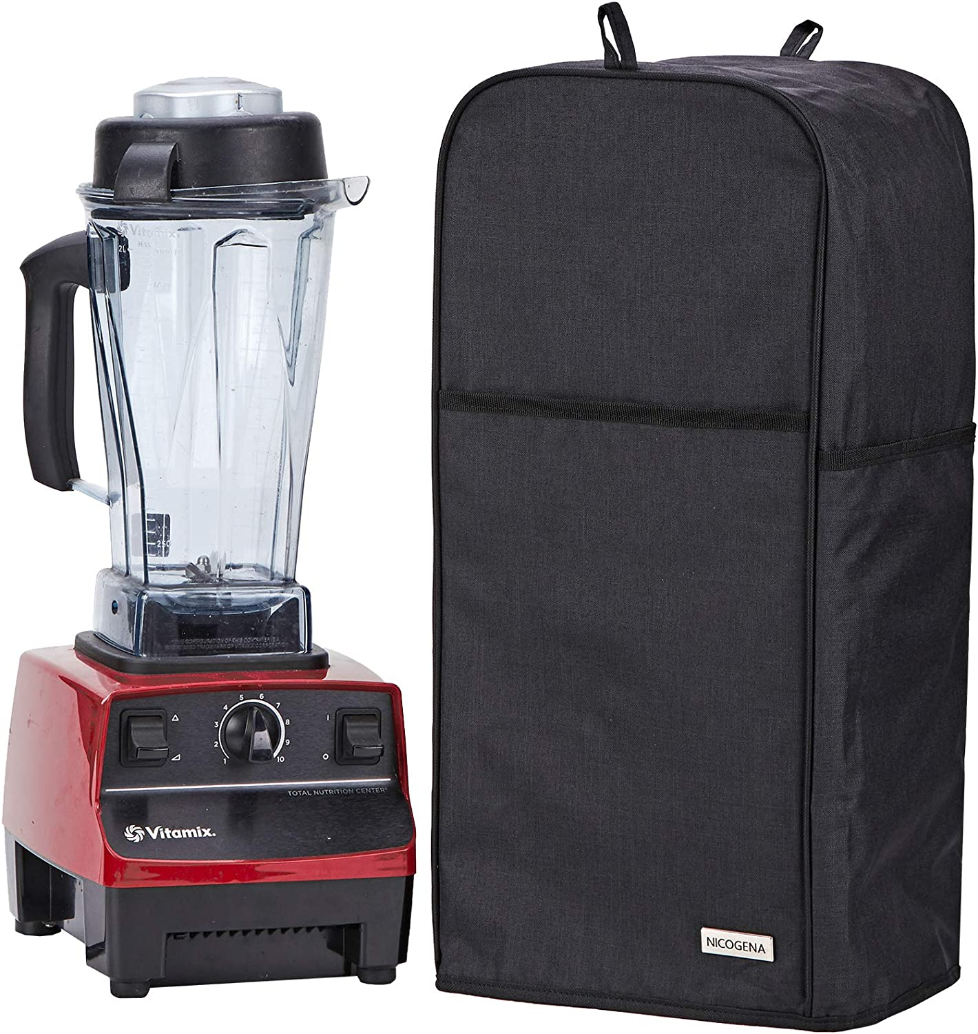 NICOGENA Blender Dust Cover with Accessory Pocket Compatible with Vitamix Classic C-series 5200, Turboblend, Large, Black