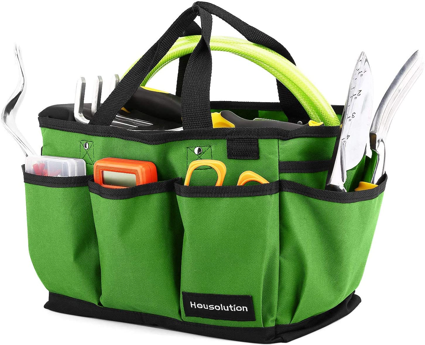 Housolution Gardening Tote Bag, Deluxe Garden Tool Storage Bag and Home Organizer with Pockets, Wear-Resistant & Reusable, 14 Inch, Green