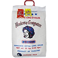 Madame Gougousse Enriched, Extra Long Grain Jasmine Rice 20 Lbs Product of Thailand, Jasmine Scented Rice