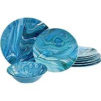 Certified International Fluidity 12 piece Melamine Dinnerware Set, Service for 4, Multi Colored