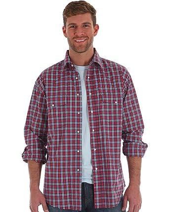 fb827168 Wrangler Men's Wrinkle Resist Long Sleeve Western Snap Shirt Red/Blue Plaid  (XX-