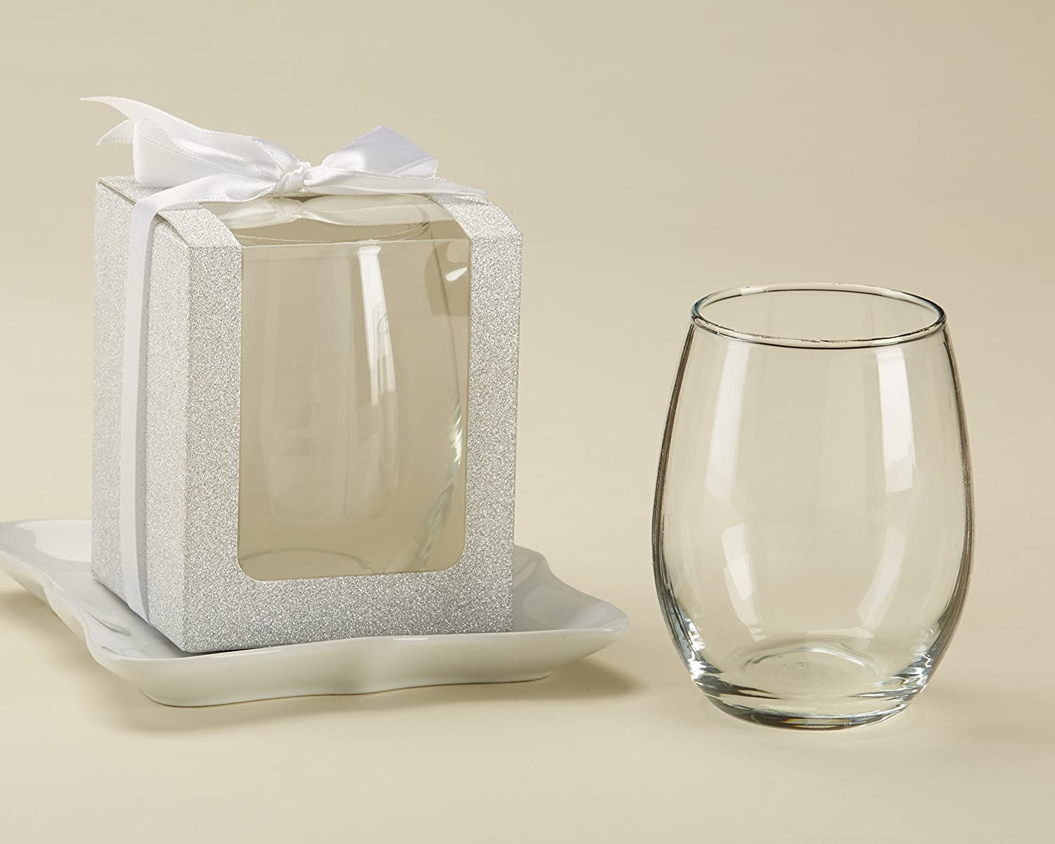 Kate Aspen, Gold Shimmer Display Gift Box, Gift/Party Favor, can hold 9 oz. Stemless Wine Glass (Set of 12) 30009GD-BOX