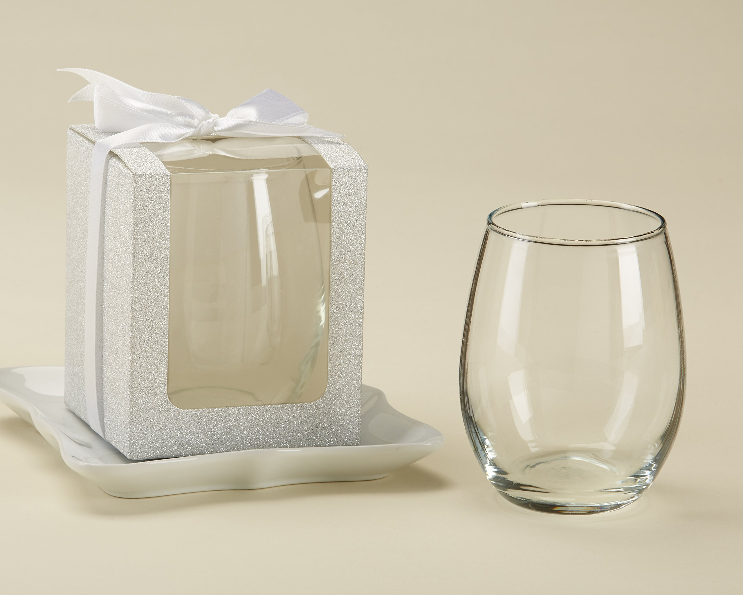 Kate Aspen Silver Shimmer Display/Gift/Favor Box, Wedding/Party Decoration, can Hold 9 oz. Stemless Wine Glasses  (Set of 12)