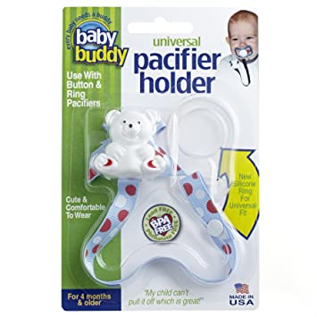 Baby Buddy Universal Pacifier Holder Clip - Snaps to Paci or Attach with Universal-Fit
