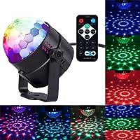 Bola Discoteca LED, HogarTech Mini Mágica Luces de Etapa,Làmpara Discoteca LED con Mando a Distancia y Soporte para Trípode 7 Colores RGB Sonido Activado DJ Fiesta Bar KTV Concierto