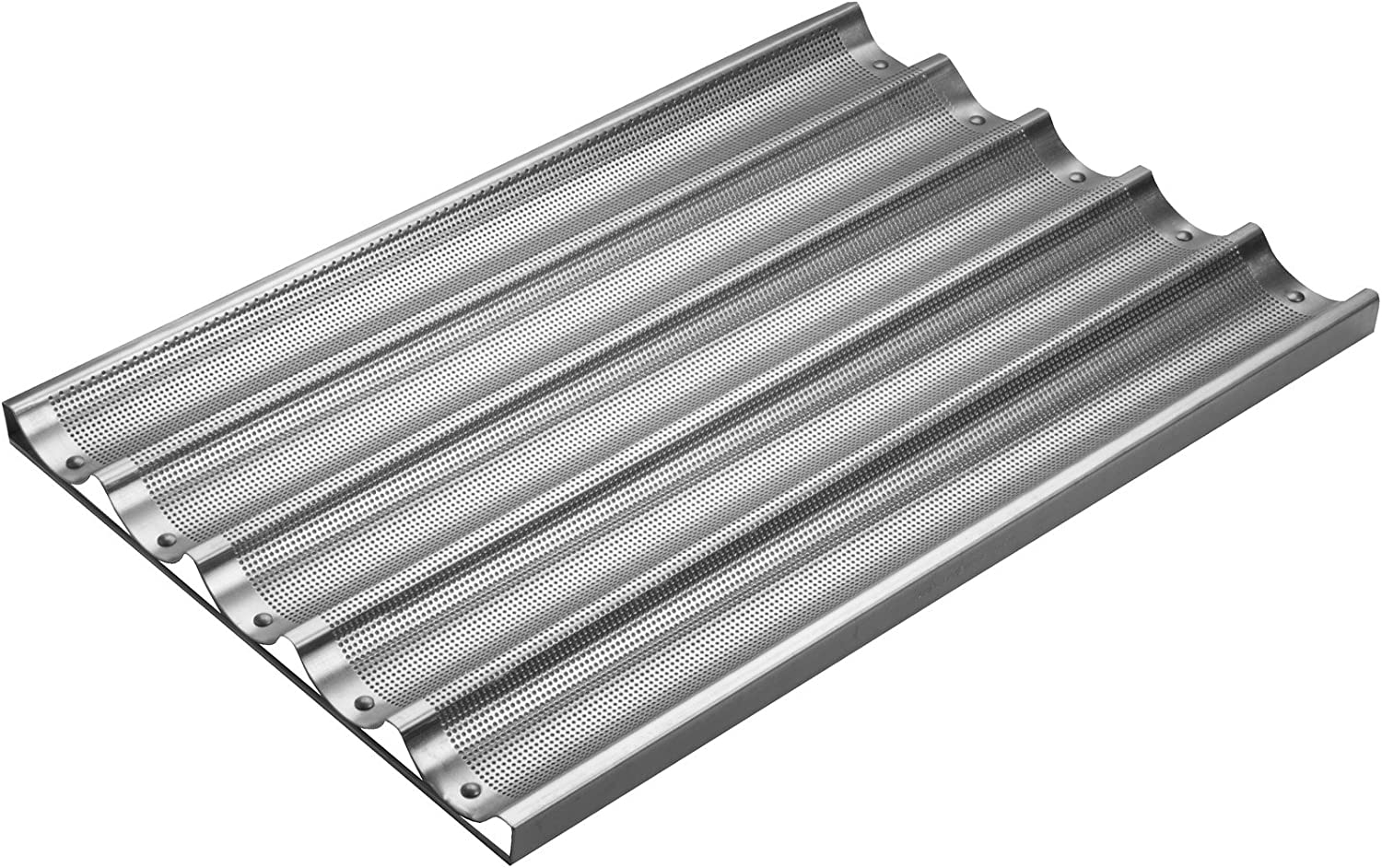 Focus Foodservice Commercial Bakeware 5 Count 26-Inch Perforated Baguette Pan