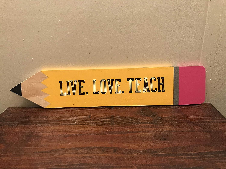 Amazoncom Pencil Teacher Wooden Sign Christmas Eve Home Decor