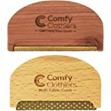 Comfy Clothiers Cedar Wood Cashmere Comb & Beech Wood Sweater Shaver Comb Combo Pack (One of Each Type) – Multi-Fabric…