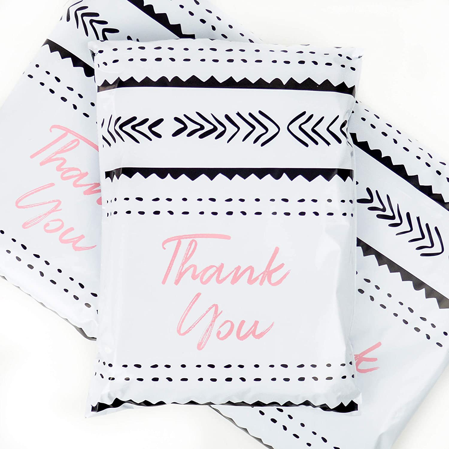 10x13 Pack of 100 Bubble Gum Reusable Poly Mailers Eco-Friendly Pink Thank You Double Seal Pull Tab Designer Boutique Poly a la Mode : Office Products