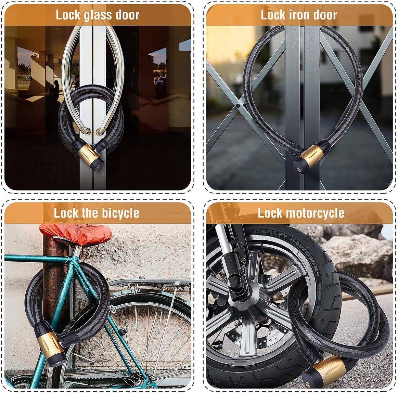 Key Locker Bike Cycling Bicycle Trolly Motor Security Steel Wire Cable Lock JAUK