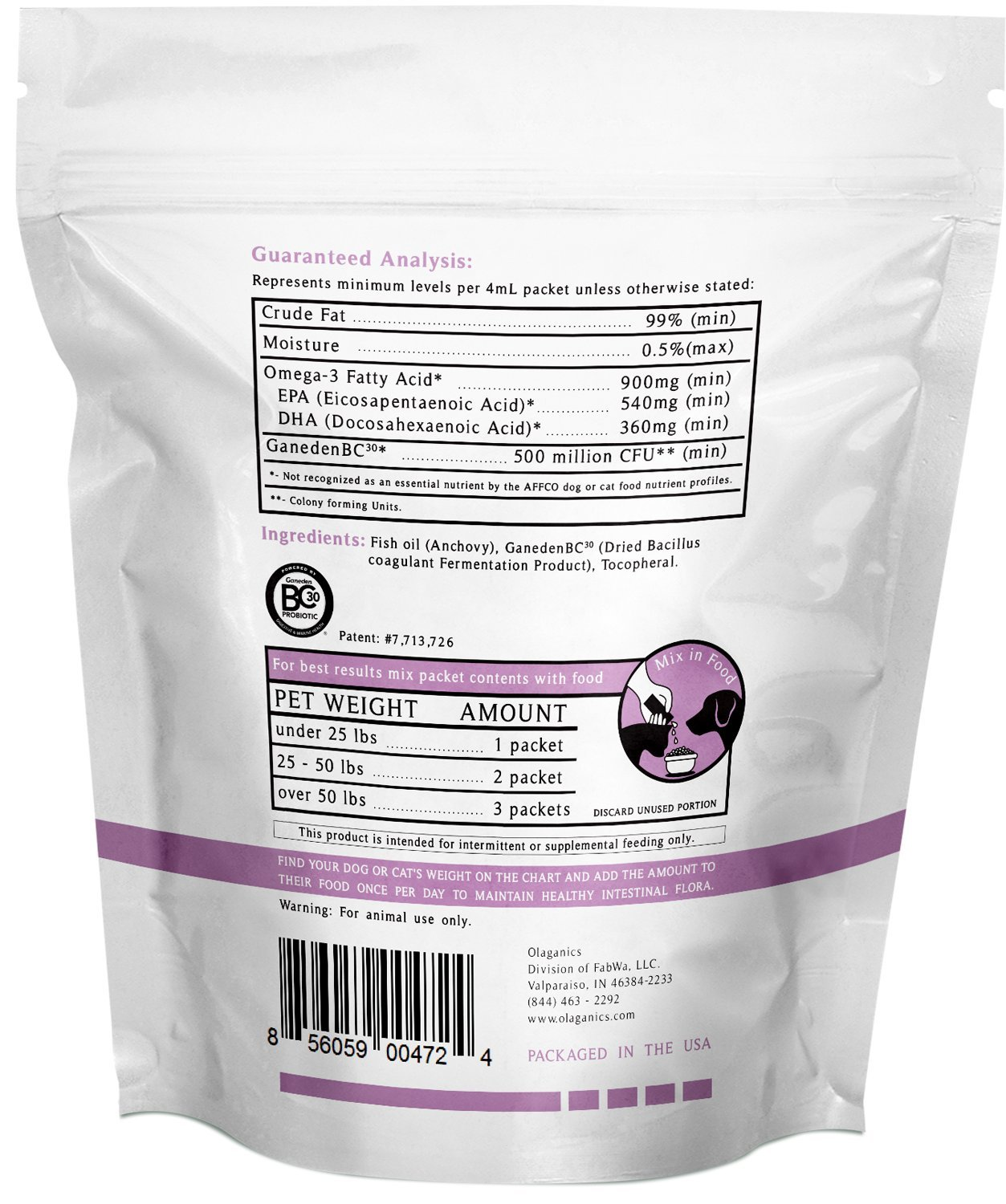 Amazon.com : Liquid Probiotic with Omega-3 for Dogs & Cats. 30 Single Serve Packets : Pet Supplies