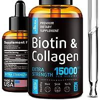 Premium Biotin & Collagen Hair Growth Drops - Potent US Made Hair Growth Product - Healthy Skin & Nails - Liquid Biotin…
