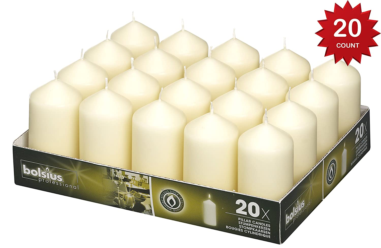 BOLSIUS Set of 20 Ivory Pillar Candles - 18 Hours Burning Time Candle Set - 2-inch x 4-inch Dripless Candle - Perfect for Wedding Candles, Parties and Special Occasions