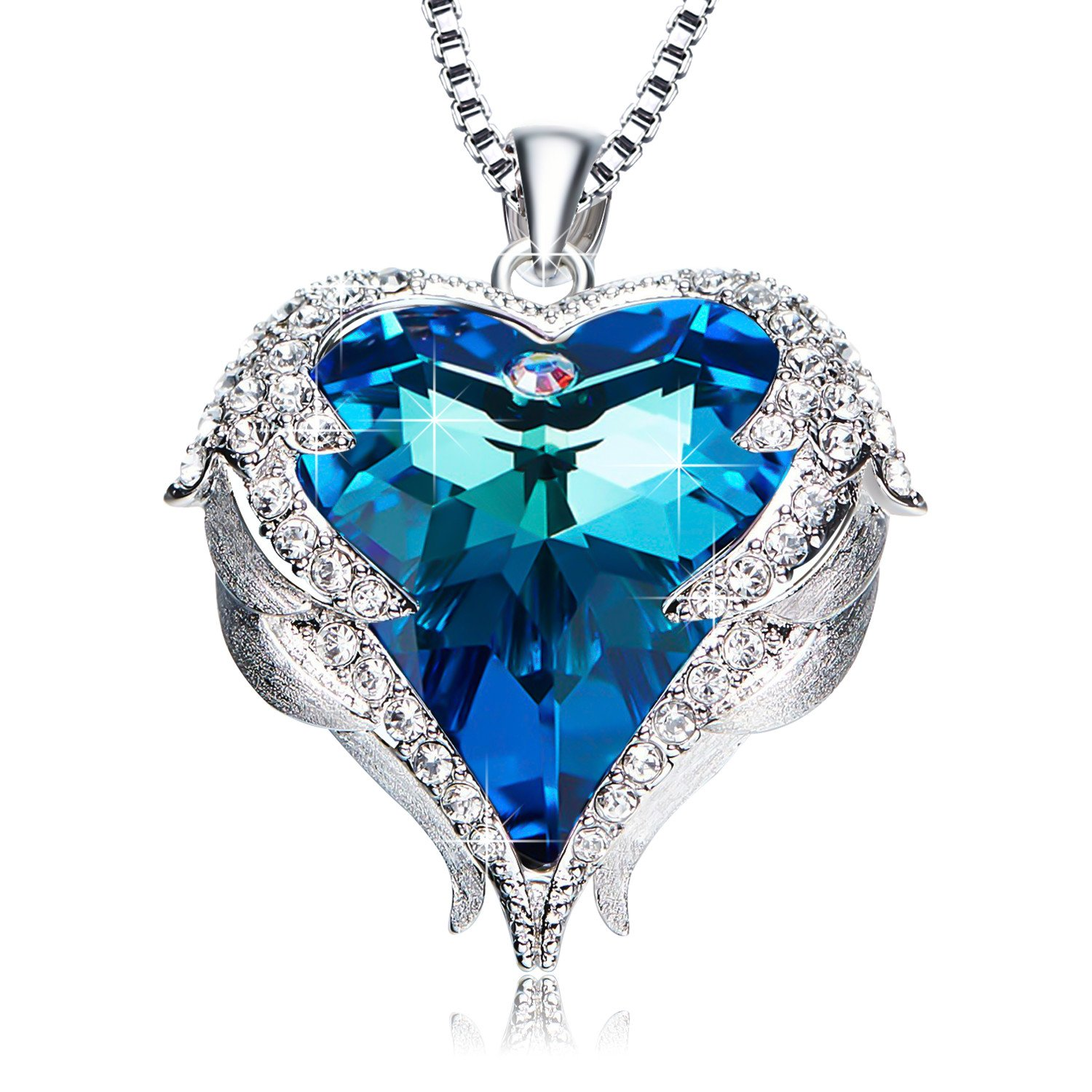 EleShow Love Heart Pendant Necklaces Gifts Jewelry for Women (B_Blue1)