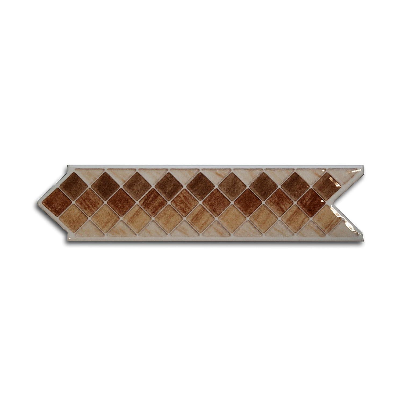 20 St/ück Keramik Bord/üre Endlosbord/üre Borde TETRIS BEIGE 6,5x25 cm//0,6cm stark braun